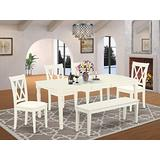 6Pc Dining Set Includes a Rectangle Dinette Table with Butterfly Leaf, Four Double X Back Microfiber Seat Kitchen Chairs and a Table, Linen White Finish
