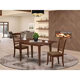 3Pc Dinette Set Includes a Rectangular Kitchen Table with Butterfly Leaf and Two Vertical Slatted Microfiber Seat Dining Chairs, Mahogany Finish