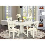 East-West Furniture AVDA5-LWH-C mid century dining table set- 4 Amazing dining chairs - A Gorgeous round wooden table- Linen Fabric seat and Linen White Finish Butterfly Leaf kitchen table