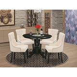 5Pc Dining Set Includes a Round Dining Room Table and Four Parson Chairs with Light Beige Fabric, Black Finish
