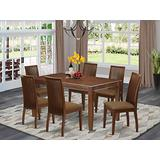 East West Furniture DUIP7-MAH-C 7-Pc Set-A Rectangular Table and 6 Kitchen Linen Fabric Dining Chairs Seat & Slatted Back-Mahogany Finish