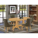 5Pc Dining Set Includes an Oval Dining Table with Butterfly Leaf and Four Parson Chairs with Dark Gotham Grey Fabric, Oak Finish