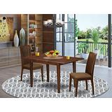 3Pc Dinette Set Includes a Rectangular Kitchen Table with Butterfly Leaf and Two Microfiber Seat Dining Chairs, Mahogany Finish