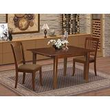 East West Furniture MLDA3-MAH-C 3Pc Dinette Set Includes a Rectangular Kitchen Table with Butterfly Leaf and Two Vertical Slatted Microfiber Seat Dining Chairs, Mahogany Finish
