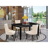 East West Furniture 5-Pieces Set-Light Beige Linen Fabric Button-tufted Upholstered Dining Chairs Black Finish 4 legs Hardwood Rectangular Dinette Table and Structure, 5