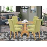 East West Furniture Wooden Dining Table Set 5 Pieces - Lime Green Linen Fabric Button-tufted Parsons Dining Chairs - Oak Finish Hardwood drop leaves Pedestal Kitchen Table and Frame