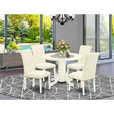 5Pc Dining Set Includes a Round Dining Room Table and Four Parson Chairs with Light Beige Fabric, White Finish