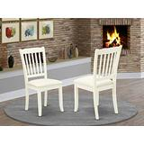 East West Furniture Danbury Vertical slatted Back Chairs Fabric Upholstered Seat in Linen White Finish