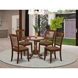 East West Furniture DLDA5-MAH-C 5-Pc Modern Dining Table Set Mahogany Finish- Two 9-inch Drops Leave and Pedestal Legs Dining Table & 4 Slatted Back Mid Century Dining Chairs