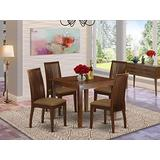 5Pc Dining Set Includes a Square Dinette Table and Four Microfiber Seat Dining Chairs, Mahogany Finish