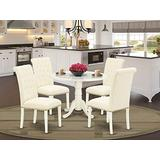 East West Furniture 5Pc Dining Set Includes a Small Round Dinette Table with Drop Leaves and Four Parson Chairs with Light Beige Fabric, Finish, Linen White