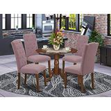 East West Furniture Wood Dinette Set 5 Pieces - Dahlia Linen Fabric Button-tufted Parson Dining Chairs - Mahogany Finish Solid wood drop leaves Pedestal Small Table and Frame