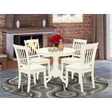 East West Furniture 5Pc Dining Set Includes a Round Dinette Table and Four Vertical Slatted Microfiber Seat Kitchen Chairs, Linen White Finish