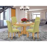 East West Furniture Wood Dining Table Set 5 Pc - Lime Green Linen Fabric Button-tufted Parsons Dining Chairs - Oak Finish Hardwood Pedestal Butterfly Leaf Wood Table and Structure