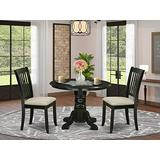 East West Furniture 3Pc Dinette Set Includes a Round Room Table and Two Vertical Slatted Microfiber Seat Dining Chairs, Black Finish