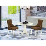East West Furniture Kitchen Table Set 3 Pc - Dark Coffee Linen Fabric Button-tufted Parsons Dining Room Chairs - White Finish Solid wood drop leaves Pedestal Dinner Table and Structure
