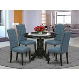 5Pc Dining Set Includes a Round Dining Room Table and Four Parson Chairs with Blue Fabric, Black Finish