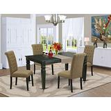 East West Furniture 5Pc Dining Set Includes a Rectangle Dinette Table with Butterfly Leaf and Four Parson Chairs with Light Sable Fabric, Black Finish