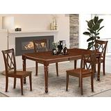 East West Furniture DOCL5-MAH-C 5-Pc dining room table set Mahogany finish-A Butterfly Leaf and 4 Legs dinette table & 4 Double X-Back dining room chairs