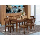 East West Furniture CADA7-MAH-C 7Pc Dinette Set Includes a Rectangular Kitchen Table and Six Vertical Slatted Linen Fabric Seat Dining Chairs, Mahogany Finish