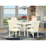 East West Furniture Nook Kitchen Table Set 5 Pieces - Light Beige Linen Fabric Button-tufted Dining Room Chairs - White Finish 4 legs Solid Wood Round Modern Dining Table and Structure