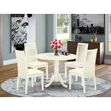 East West Furniture DLIP5-WHI-C 5-Pc Dining Table Set Buttermilk & Cherry Finish- Two 9-inch Drops Leave and Pedestal Legs Modern Dining Table & 4 Slatted Back Wood Dining Chairs