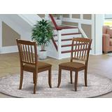 East West Furniture Danbury vertical slatted back chairs with Linen Fabric Upholstered Seat in Mahogany finish