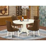 East West Furniture Small Dinette Set 5 Pieces - Dark Coffee Linen Fabric Button-tufted Kitchen Chairs - Linen White Finish Solid Wood Pedestal Butterfly Leaf Dinette Table and Frame