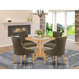 East West Furniture 5Pc Dining Set Includes a Round Dinette Table with Drop Leaves and Four Parson Chairs with Dark Gotham Grey Fabric, Oak Finish