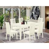East West Furniture CAIP7-LWH-C Set 7 Pc Fabric Dining Chairs Seat-Linen White Finish Rectangular Kitchen Table and Frame