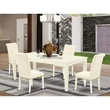 5Pc Dining Set Includes a Rectangle Dining Table with Butterfly Leaf and Four Parson Chairs with Light Beige Fabric, Linen White Finish
