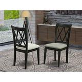 East West Furniture Clarksville Double X-back chairs with Linen Fabric Upholstered Seat in Black finish