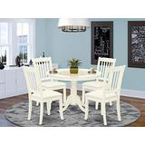 East West Furniture HLDA5-LWH-C 5-Piece Dining Room Table Set - A Round Breakfast Table and 4 Dining Room Chairs – Linen Fabric Kitchen Chairs Seat & Slatted Back - Linen White Finish