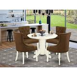 5Pc Dining Set Includes a Round Dining Room Table and Four Parson Chairs with Dark Coffee Fabric, White Finish