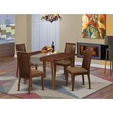 5Pc Dining Set Includes a Rectangle Dinette Table with Butterfly Leaf and Four Microfiber Seat Dining Chairs, Mahogany Finish