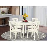 East West Furniture BODA5-WHI-C Round Kitchen Table Set 5 Piece - Linen Fabric Dining Chairs Seat - Linen White Finish Modern Dining Table and Body