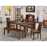 East West Furniture DUIP6-MAH-C Modern Dining Set-4 Solid Wood Chairs-Dazzling Kitchen Cushion Seat, Pretty Bench Mahogany Dinner Table