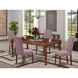 East West Furniture DOCE5-MAH-10 5-Pieces Dining Table Set - Dahlia Linen Fabric Button-tufted Kitchen Parson Chairs - Mahogany Finish Solid Wood 4 legs Butterfly Leaf Rectangular Dining Room Table
