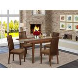5Pc Dining Set Includes a Round Dining Room Table and Four Parson Chairs with Light Sable Fabric, Black Finish