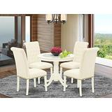 East West Furniture 5Pc Dining Set Includes a Small Round Dinette Table and Four Parson Chairs with Light Beige Fabric, Linen White Finish
