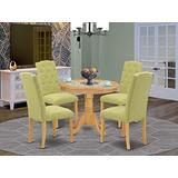 East West Furniture 5Pc Dining Set Includes a Small Round Dinette Table and Four Parson Chairs with Lime Green Fabric, Oak Finish