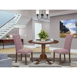 East West Furniture Kitchen Set 3 Pc - Dahlia Linen Fabric Button-tufted Parsons Dining Room Chairs - Mahogany Finish Solid wood drop leaves Pedestal Dining Room Table and Frame