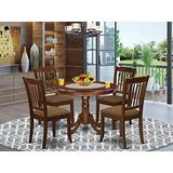 East West Furniture HLDA5-MAH-C 5-Piece Dining Room Set - A Round Breakfast Table and 4 Dining Chairs – Linen Fabric Kitchen Chairs Seat & Slatted Back - Mahogany Finish