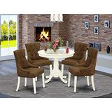 East West Furniture 5Pc Dining Set Includes a Small Round Dinette Table and Four Parson Chairs with Dark Coffee Fabric, Linen White Finish