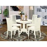 East West Furniture Round Room Set-4 Wonderful Kitchen Chairs-A Stunning Wood Wooden Seat and Linen White Mid-Century Dining Table, 1