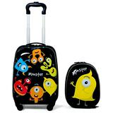 """Custpromo 2 pcs ABS Kids Suitcase Lightweight Backpack Luggage Set 16"""" Carry On Luggage with Spinner Wheels and 12"""" Backpacks Set for 2, 3, 4 year olds (Monster)"""