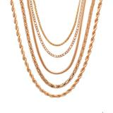Steel Time Women's Necklaces Rose - 18k Rose Gold-Plated Chain - Set of Five