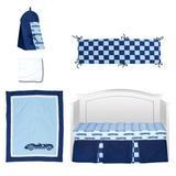 Harriet Bee Calderwood Racecars 6 Piece Crib Bedding Set Cotton Blend in Blue, Size 12.0 W in | Wayfair 6A673525B54E4DBCB1604C701E9F0FC0