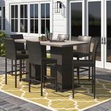 Sol 72 Outdoor™ Tegan 8 Piece Pub Bar Height Dining Set Metal/Wicker/Rattan, Size 41.5 H x 35.5 W x 35.5 D in   Wayfair