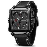 MEGIR Men's Analogue Army Military Chronograph Luminous Quartz Watch with Fashion Leather Strap for Sport & Business Work (2061 Black)